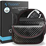 Mini Faraday Bag for Key Fob (2 Pack), TICONN Premium Faraday Cage Car Key Protector – RFID Signal Blocking, Anti-Theft Pouch, Anti-Hacking Case Blocker (Carbon Fiber Texture)