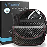 Mini Faraday Bag for Key Fob (2 Pack), TICONN Faraday Cage Car Key Protector - RFID Signal Blocking, Anti-Theft Pouch, Anti-Hacking Case Blocker (Carbon Fiber Texture)