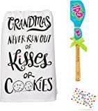 Just 4 U Gifts Grandma Grandchild Kitchen Set - Grandmas Never Run Out of Kisses or Cookies Towel and Blue Hearts Spatula Set with Gift Tag