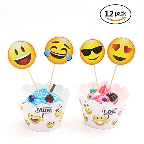 Emoji Cupcake Toppers and Wrappers Cake Decorations For Kids Party,Set of - Cake Emoji Sunglasses