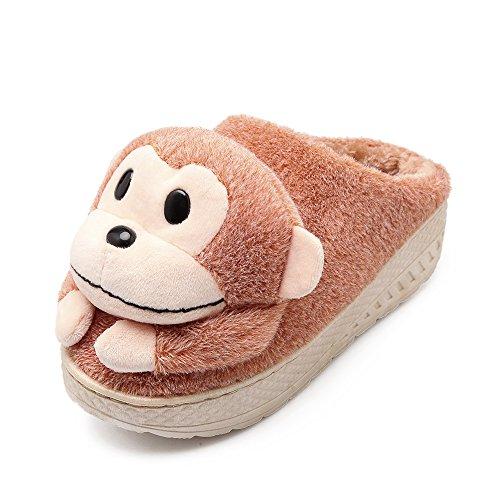 Y-Hui l'inverno con spesse pantofole di cotone Semi pantofole in lana caldo SCARPE Indoor Lady casa,40-41 (Fit 38, 39 piedi),l'albicocca