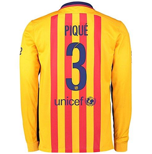 (2015-2016 Barcelona Long Sleeve Away Football Soccer T-Shirt Jersey (Gerard Pique 3))