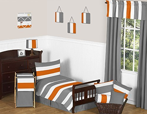 Sweet Jojo Designs Grey Orange White Stripe Designer Boy Tod