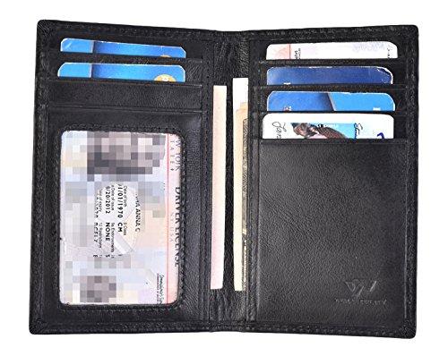 Black Leather Front Pocket Wallet - Slim Thin ID/Credit Card Holder Leather Bifold Front Pocket Wallet RFID Blocking (Black)