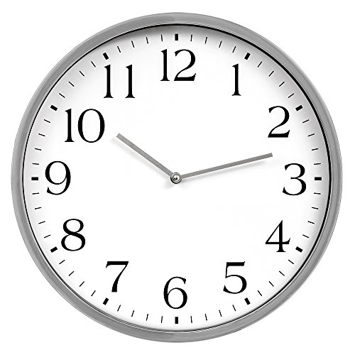 (Patton Wall Decor 16 Inch Round Essential Silver and White Wall Clock)