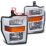 Rxmotor Ford F250 F350 F450 Headlights Lamps Off Road Used Custom Made Retrofit 2008-2010 (WHITE CHROME AMBER)