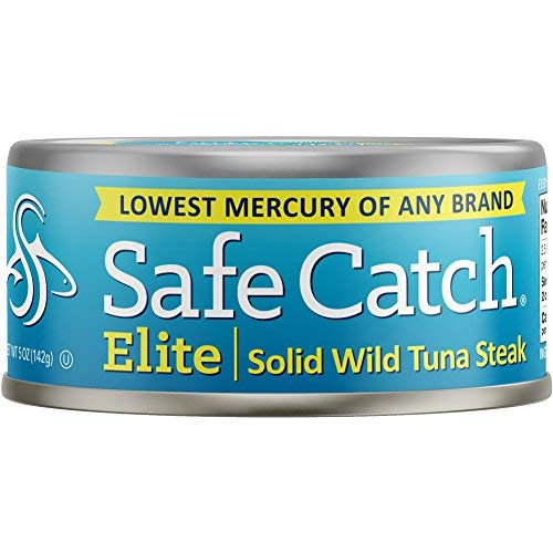Safe Catch Elite Lowest Mercury Solid Wild Tuna Steak, 5 Ounce Can The Only Brand To Test Every Tuna for Mercury (Pack Of 12) (Best Low Mercury Canned Tuna)