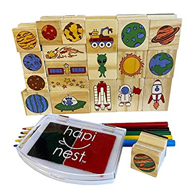 Hapinest Space Stamp and Sticker Set for Kids Boys Arts and Crafts Kits Ages 4 5 6 7 8 9 Years Old: Toys & Games