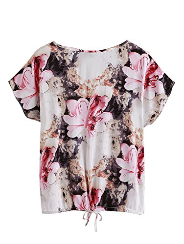 e0a74688cb SheIn Women's Print Cuffed Short Sleeve Chiffon Shirt Blouse Top ...