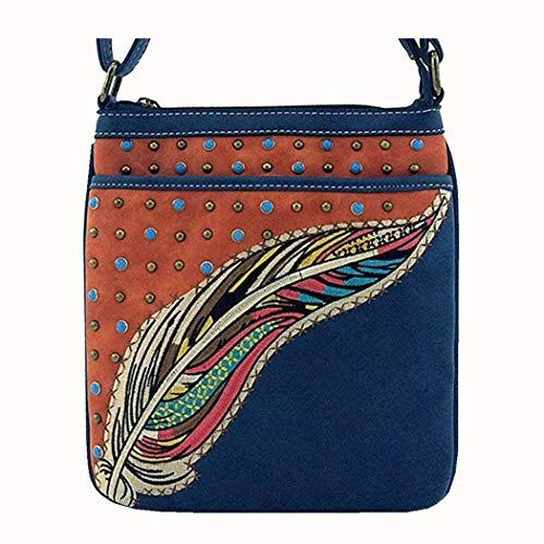(Y.C. Cross body women Feather Zipper backside Pocket Studded Western Small Purse Shoulder Bag (Navy))