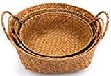 Yesland 3 Pack Woven Seagrass Belly Basket with