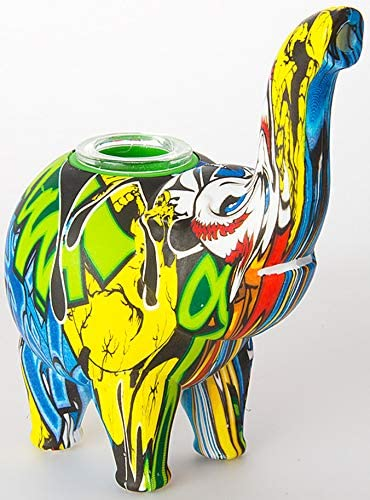 Multicolored, 5 Inch Epic Glass Elephant Device 5 Inch