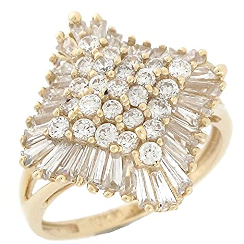 10k Yellow Gold White CZ Sparkling Ladies Cluster Fashion Ring - 10k Gold Cluster Ring
