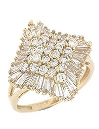 14k Yellow Gold White CZ Sparkling Ladies Cluster Fashion Ring