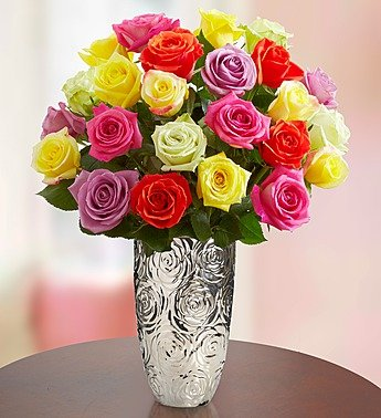 Two Dozen Assorted Roses with Silver Embossed Vase by 1-800 Flowers by 1-800-Flowers