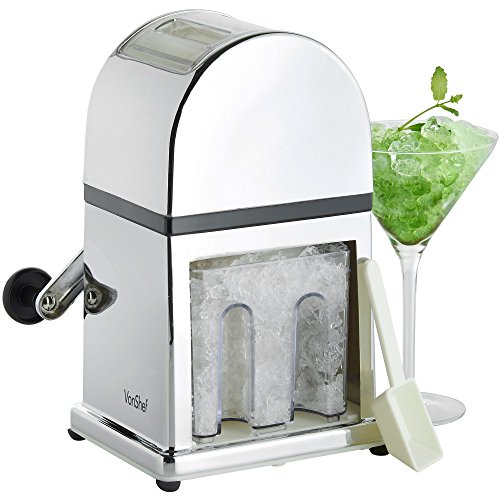 VonShef Ice Crusher Manual Machine with Stylish Mirrored Finish Includes a...