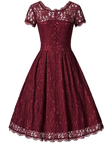 Zarlena Donna Vestiti Elegante Pizzo Abito Retro Spalla di Parola Abiti Vestito da Matrimonio Banchetto Sera rosso XL DRD3-RED-XL