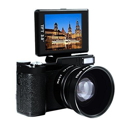 "Digital Camera Full HD Video Camcorder 1080p 24.0 MP Point and Shoot Camera Anti Shake 3"" Flip Screen Teleconverter Close-up Lens"