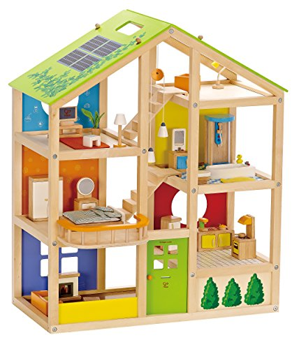 Hape All Seasons Kid's Wooden Doll House Furnished with Accessories by Hape (Image #3)