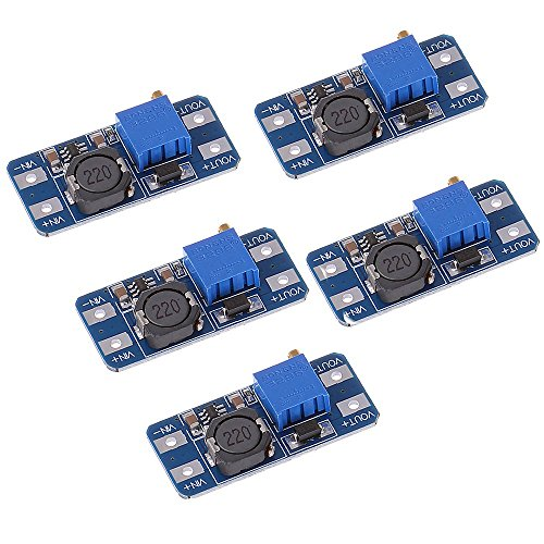 Anmbest 5PCS MT3608 Step-Up Adjustable DC-DC Switching Boost Converter Power Supply Module 2-24V to 5V-28V 2A ()