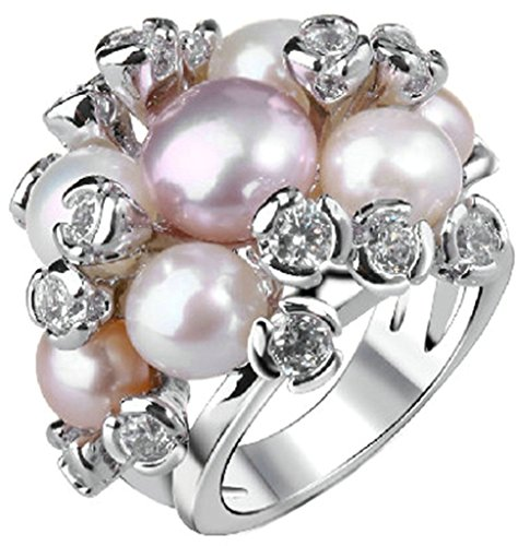 Gnzoe Jewelry, Gold Plated Womens Wedding Ring Pearl(Lab Created)Cubic Zirconia Valentine Gift