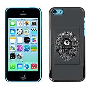 GOODTHINGS Funda Imagen Diseño Carcasa Tapa Trasera Negro Cover Skin Case para Apple Iphone 5C - gris ocho bola 8 poker circo cráneo