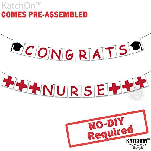 Congrats Nurse Banner, Nurse Decorations - Assembled - Nurse Party Decorations | Nurse Graduation Party Supplies 2019 |Red and White Gradution Decorations, Medical Nurses Nursing Party, Felt Banner
