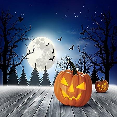 DaShan 10x10FT Halloween Backdrop Fallen Leaves Terror Skeleton Pumpkins Grimace Lanterns Dark Photography Background Children Adults Artisitic Portrait Photo Studio Shoot Props Polyester