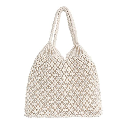 (HOSPORT Women Tote Bag Woven Beach Totes Shoulder Handbags Beach Bags)