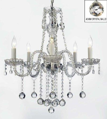 "AUTHENTIC ALL CRYSTAL CHANDELIERS LIGHTING CHANDELIERS WITH CRYSTAL BALLS! H27"" X W24"""