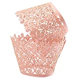 KINGSO 12pcs Pearly Paper Filigree Vine Lace Cupcake Wrappers Wraps Cases Wedding Birthday Decorations