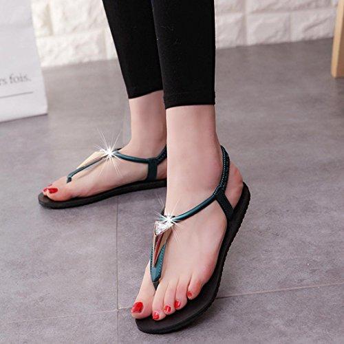 Sandalias de vestir, Ouneed ® Las mujeres señoras Bohemia ocio sandalias Peep-Toe zapatos de diamantes Verde