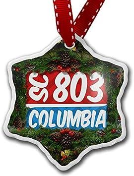 Amazon Com Yyone Christmas Ornament 803 Columbia Sc Red Blue Xmas Snowflake Ornament Porcelain Ornaments Home Kitchen
