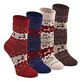 Keaza Women's Vintage Style Cotton Knitting Wool Warm Winter Fall Crew Socks - C5 (4 Pack)