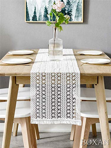 "BOXAN 12"" x 108"" Macrame Table Runner with Tassels, Vintage Wedding Crochet Lace Fringe Table Runner Overlay for Rustic Wedding Bridal Shower Decoration, Boho Farmhouse Home Dining Table Linen Decor - ◆Materials: High quality white Moroccan Fringe Table Runner with extra in long handmade woven snazzy tassels on each side, gives a chic feeling and creates a relaxed mood in your room. ◆Long Size: Width 12 inch x length 108 inch(9 feet), the white Crochet Lace Table Runner is moderate thickness, soft skin-friendly, eco-friendly, durable and reusable. ◆Unique Design: Delicate white weaved hollow striped fabric with tassel, giving a minimalist feel and creating a relaxed feel in the room, to give your table a new look. - table-runners, kitchen-dining-room-table-linens, kitchen-dining-room - 51GaAh3XkvL -"