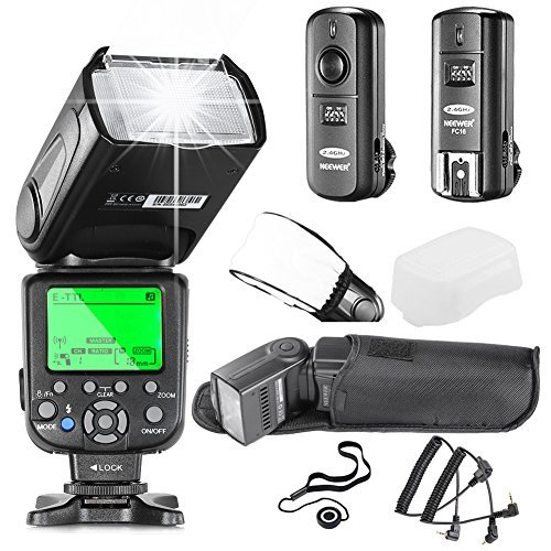 Neewer NW660III E-TTL HSS Flash Speedlite Kit for Canon DSLR Cameras includes:(1)NW660III Flash+(1)2 4GHz Wireless Trigger(1 Transmitter 1 Receiver)+(1)Hard&Soft Flash Diffuser+(1)Lens Cap Holder