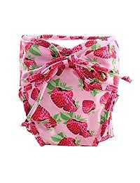 Size Medium, Adjustable Infant Swim Diaper with Ties, [Strawberry, Pink]