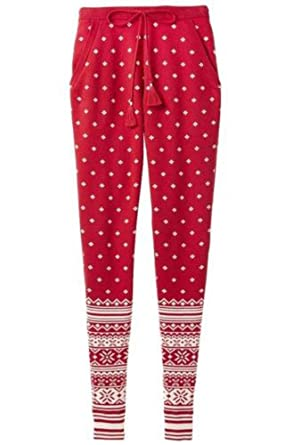 Victorias Secret Pajama Jogger Sweat Pants Fair Isle Red Small