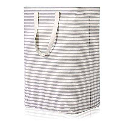 Vieshful Laundry Hamper, 72L Freestanding Laundry Basket with Long Handles to Storage Clothes Toys, Large Foldable Clothes Basket, Grey - 【STURDY】- The opening is implemented with an iron wire frame to sustain the shape of the laundry basket. It can instantly deploy and stand up without installation as long as you shake it. And it holds itself up pretty well even when empty. 【LARGE CAPACITY】- The dimensions of the clothes laundry basket are 40 x 30 x 60 cm / 15.7 x 11.8 x 23.6 in. The capacity of the laundry hamper is 72L, suitable for university, dormitory and family use. 【LONG HANDLE】- Two side reinforced handles are designed for easy transportation of the laundry hamper. The length of the handles are long enough to allow you to carry it with only one hand. Compare to other small handles baskets that need both hands to carry, the long handles design is more convenient. - laundry-room, hampers-baskets, entryway-laundry-room - 51GaB %2Bl4eL. SS400  -