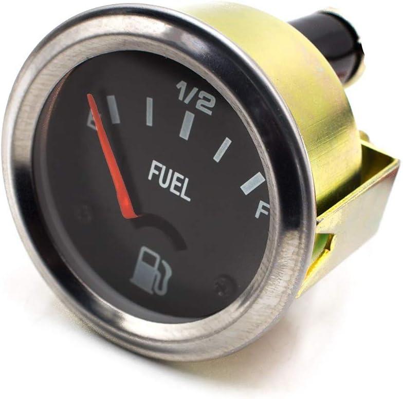 r/ésistant /à la foudre 2  52mm 12V compteur de voiture jauge de niveau de carburant automatique E-1//2-F m/ètre de jauge de niveau de visage noir Faible consommation d/énergie /Étanche