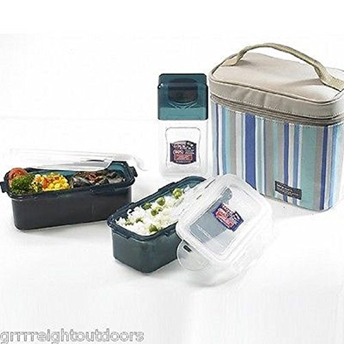 Lock&Lock Blue Double Zip Bag Lunch Box Set with BPA Free Containers with Leak Proof Locking Lids