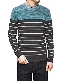 Liveinu Men's Casual Stripe Crew Neck Knitted Sweater