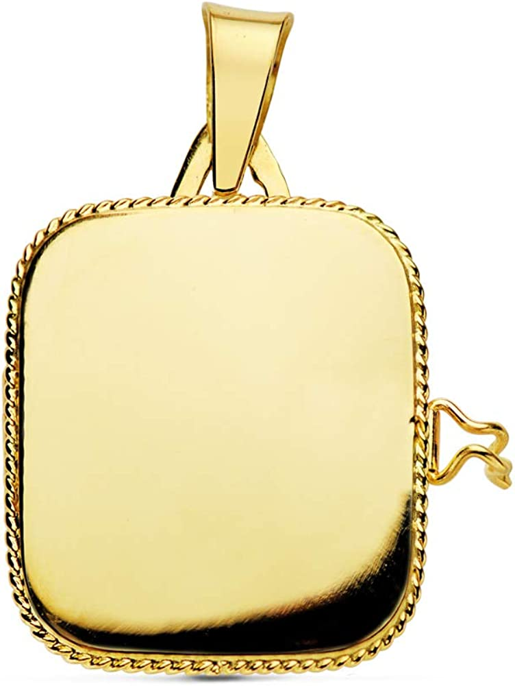 Colgante de mujer Portafotos (guardapelo) Cuadrado Liso Oro 18 Kilates 21 MM