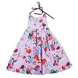 Baby Girls Dress, Toddler Kids Girls Sundress Halter Straps Floral Party Dress Backless Skirt Long Dress (4T, Light Purple)