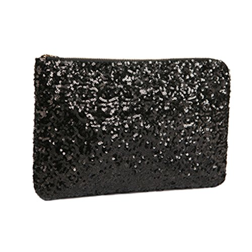 Sequin Clutch Purse - MioCloth FakeFace Dazzling Glitter Bling Sequins Handbag Clutch Purse Evening Party Bag Black