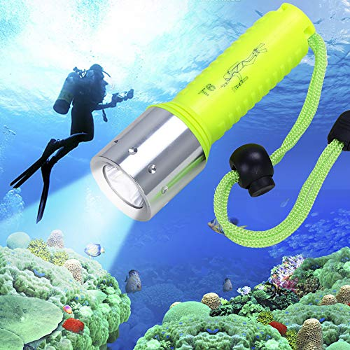 MiXXAR Diving Flashlight, CREE-T6 1100LM Professional Bright LED 3 Modes Submarine Underwater Torch Scuba Safety Lights for Scuba Diving, Night Snorkeling (Yellow)