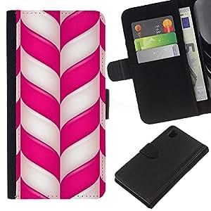 Sony Xperia Z1 / L39h / C6902 Modelo colorido cuero carpeta tirón caso cubierta piel Holster Funda protección - Candy Cane Christmas Holidays Winter Mint