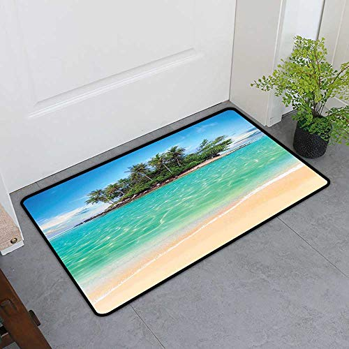 TableCovers&Home Magic Non Slip Door Mat, Island Doormats for High Traffic Areas, Tropical Island Sandy Seaside Clear Water Honeymoon Destination Waterscape (Cream Blue Green, H32 x W48)