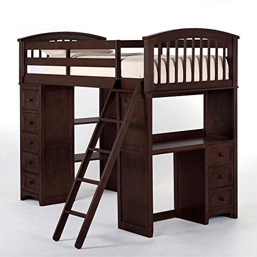 (NE Kids School House Student Loft Bed in Chocolate)