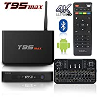 BPSMedia T95MAX 4K Amlogic S905 Set Top TV Box Android 5.1 Lollipop OS XBMC Quad Core Google Streaming Media Player 2GB/32GB with WiFi HDMI DLNA + I8 Mini Wireless Keyboard